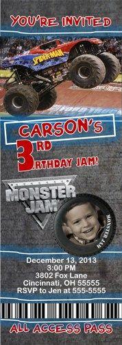 Monster Truck Custom Designed Birthday Ticket Invitation - Your Favori
