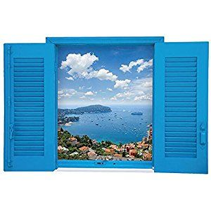 Amazon.com: Winhappyhome Mediterranean Blue Fake Window Scene Wall Art Stickers for Living Room Bedroom Coffee Shop Background Removable Decor Decals C: Home & Kitchen