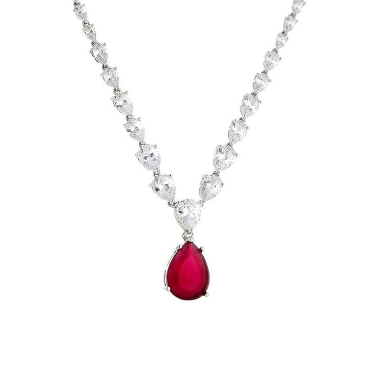 Colar luxo riviera com gota vermelho rubi e corrente de cristais gota folheado a ródioDimensões aproximadas:Comprimento da corrente: 45 cm