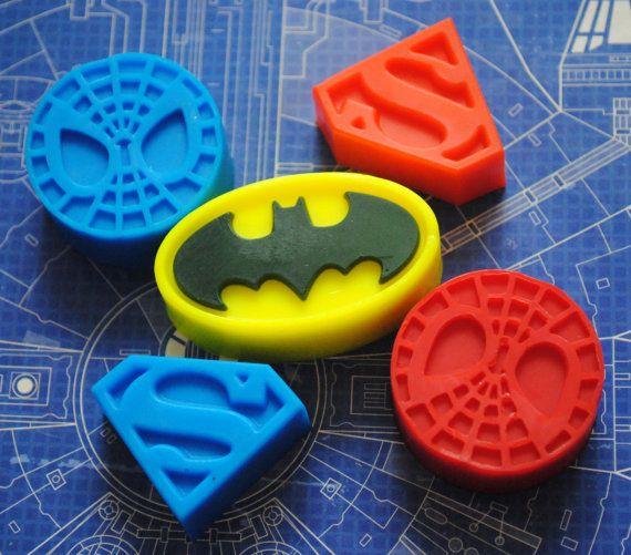 5 x savons héros - Batman, Superman et Spiderman !