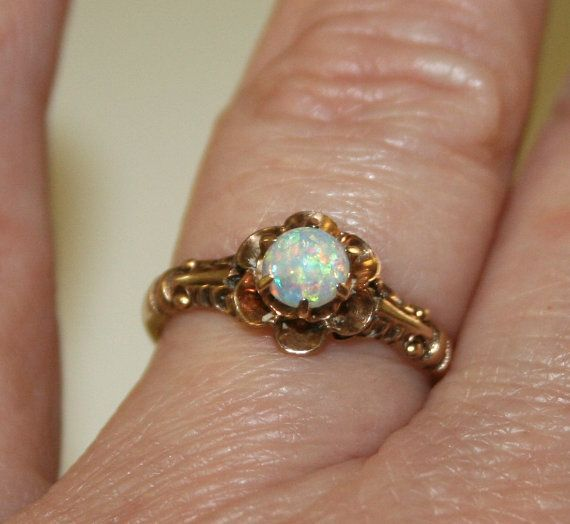 Vintage Opal And Diamond Gold Ring