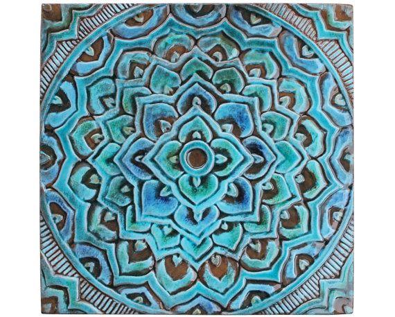 Mandala art // Meditation art // Spiritual gift // Yoga art // Mandala decor// Decorative wall tiles // Mandala #2 // 30x30cm // Turquoise