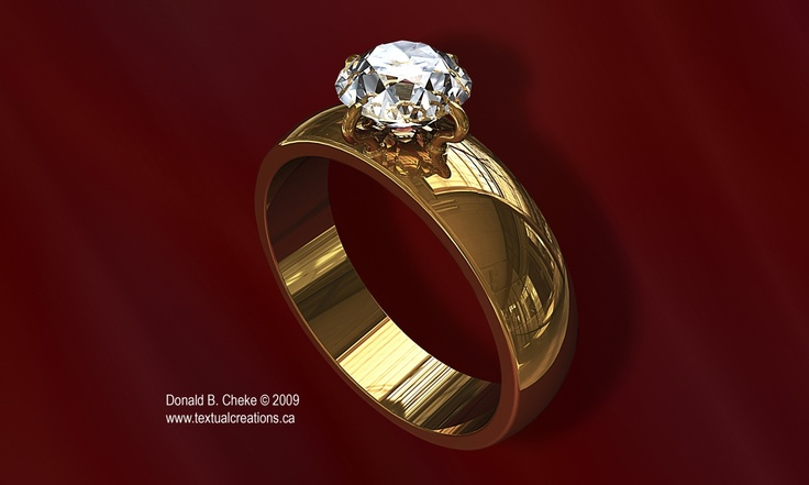 Diamond Gold Ring - 3D model / rendering created by Don Cheke using TurboCAD Pro Platinum.