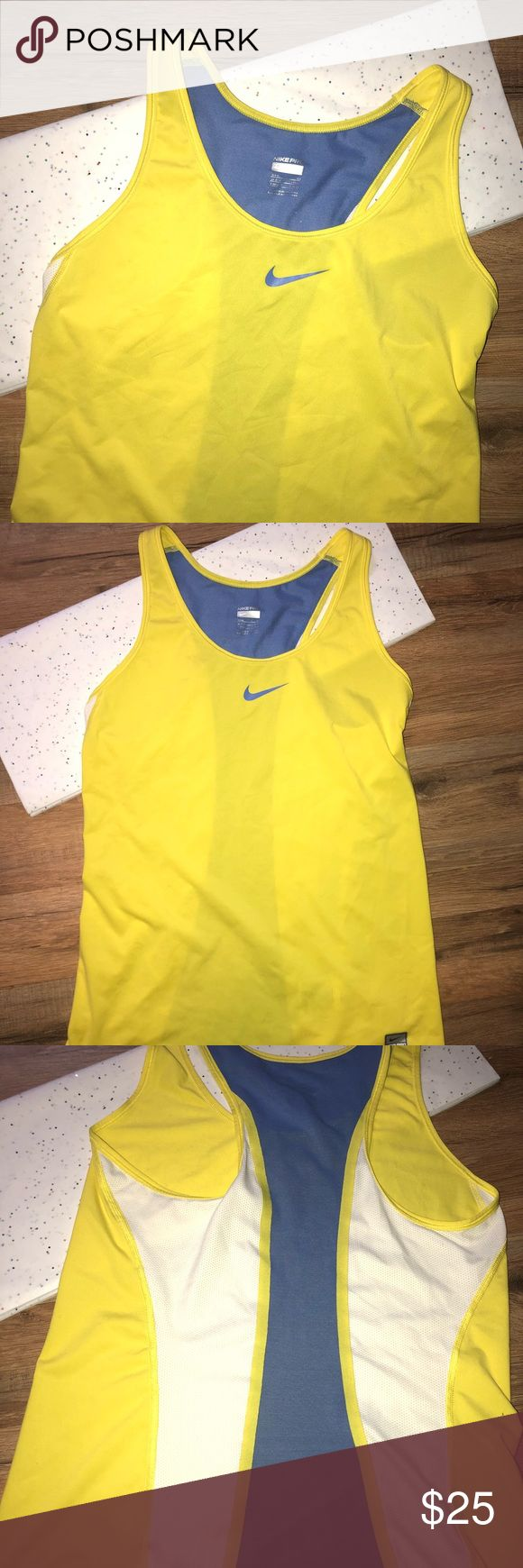 Nike Tank Top NWOT Women's yellow blue and white Nike tank top, size small, Nike Pro, NWOT✨✨ Nike Tops Tank Tops