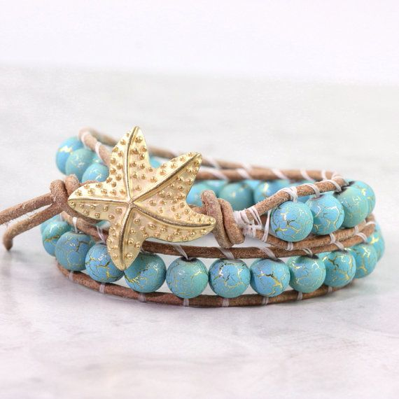 Turquoise Blue Leather Wrap Bracelet Tan Suede Aqua Gold Desert Summer Bohemian Style Double Wrap Beach Jewelry