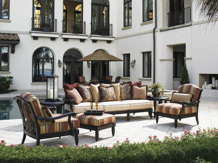 Kingstown Sedona Tommy Bahama Striped Sofa | Traditional Outdoor Living Room  Set