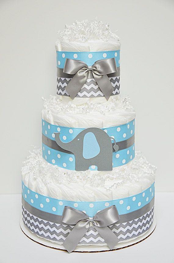 Chevron Blue And Gray Elephant Diaper Cake by LanasDiaperCakeShop: