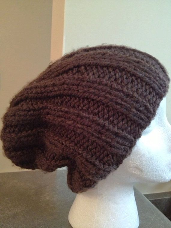 Slouchy Ribbed Hat/Stylish Soft Knit Beanie/Unisex by Knitkozi, $20.00 For more selection of these hand knit hats visit: https://www.etsy.com/ca/shop/Knitkozi?ref=si_shop