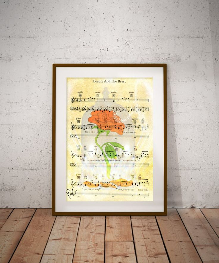 Beauty & the Beast Rose Music Page Wall Art Print