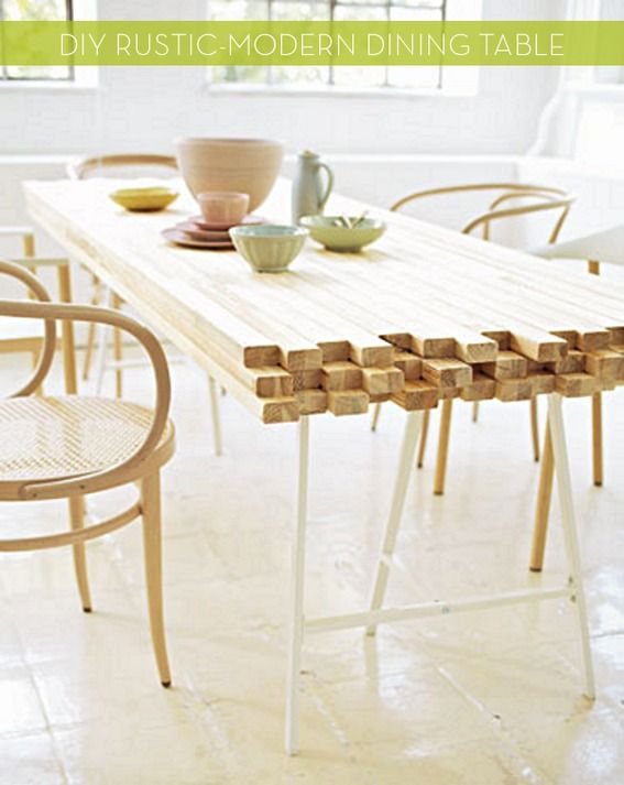 This wood dining table is the perfect blend between rustic and modern. The best part? It's totally DIYable!
