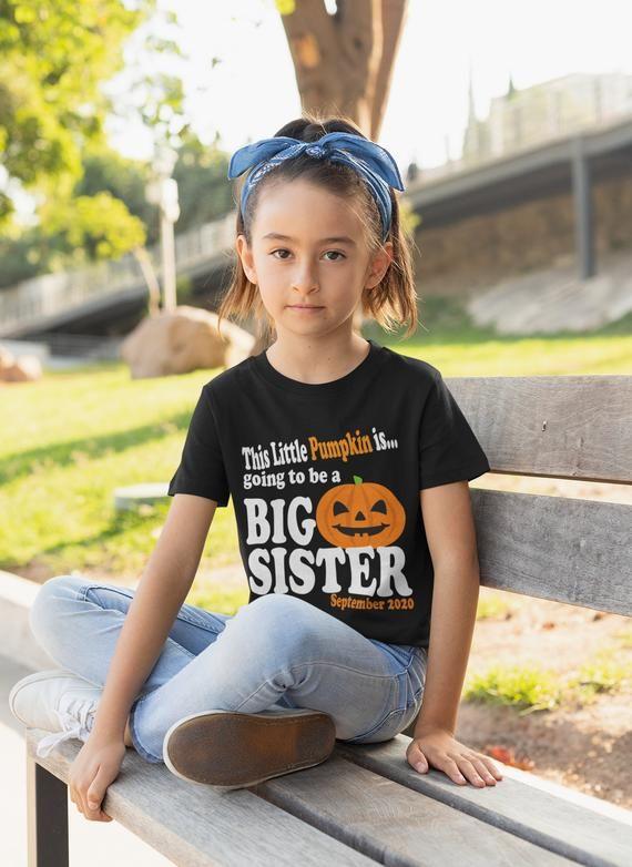 This Little Pumpkin Halloween Big Sister Shirt – Personalized Big Sister Halloween Shirt with date – big Sister announcement shirt