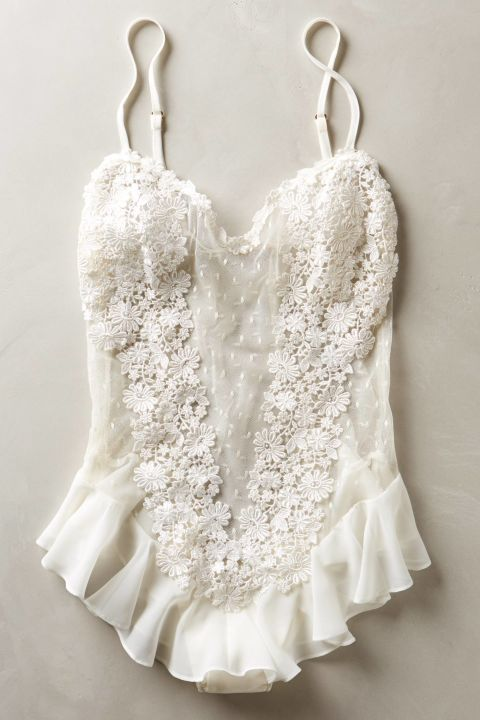White lingerie sets, including this Flora Nikrooz Fluer Flutter Bodysuit here, are perfect for the big night.