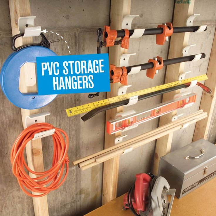 PVC pipe turned into storage hangers in the garage, shed etc