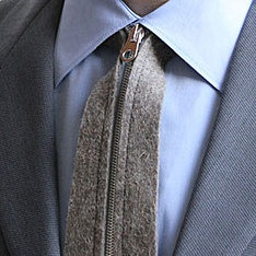 """My husband gets so many comments weariing this tie - It is so different and so cool!. I love it when men can can """"dress up""""   top3 by design - Actual - actual zip tie grey"""