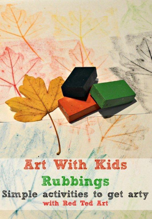 Simple art activities for kids - leaf rubbings and exploring surfaces via www.redtedart.com