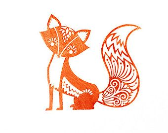 Fancy Fox Rubber Stamp With Wood Backing