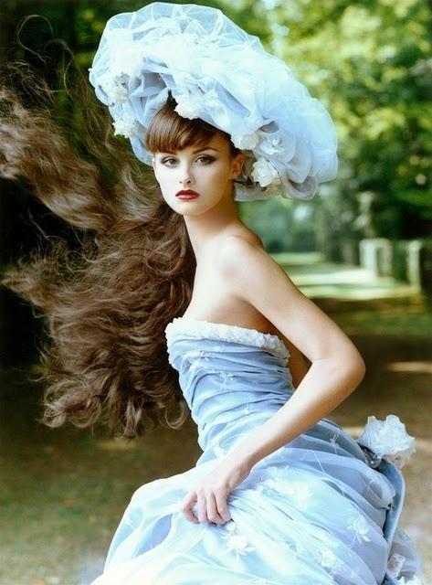 blue belleHats, Fashion, Blue, Steven Meisel, Beautiful, Trish Goff, Vogue Magazines, Belle Epoque, Haute Couture