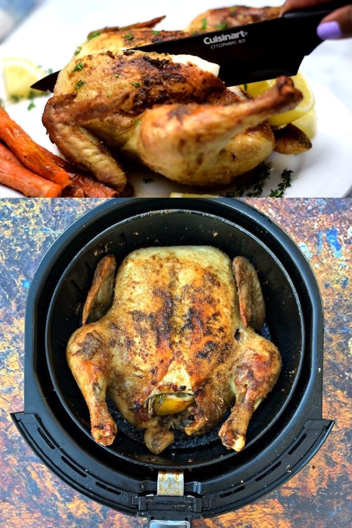 Easy Air Fryer Rotisserie Roasted Whole Chicken Is The Best Keto Low Carb Air Fryer Recipes Healthy Low Carb Air Fryer Recipes Healthy Air Fryer Recipes Easy