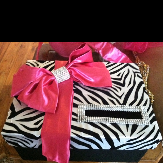 Zebra & Hot Pink card box!! The Hailee can keep it in her room to put lil keepsakes in it.