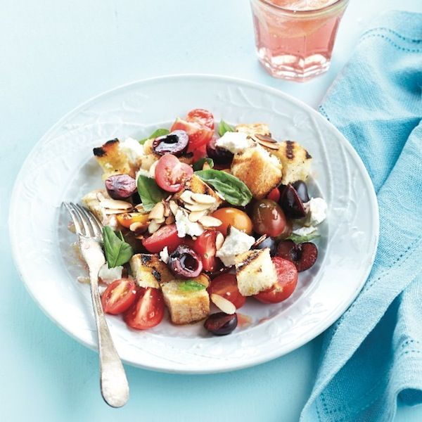 Summer cherries brighten up your salads and add a sweet note. Get this panzanella salad recipe and more at Chatelaine.com