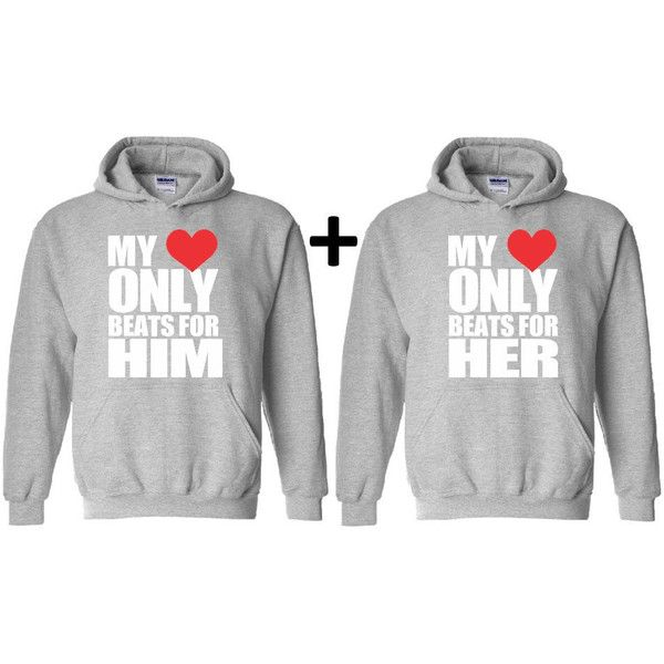 My Heart Only Beats For Him and Her Matching Couple Hoodies Valentines... ($40) ❤ liked on Polyvore