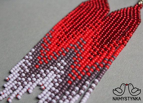 Red beaded earrings Gradient earrings Long earrings Native