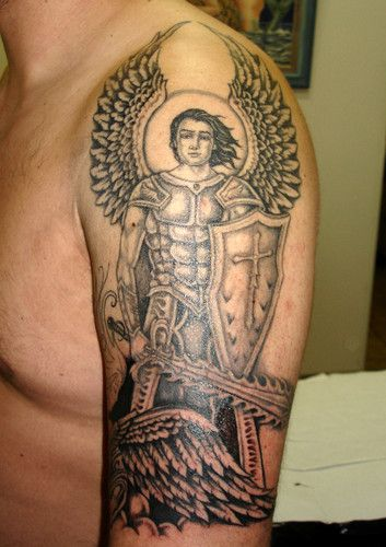 Amazing Grey Ink Angel Tattoo On Left Half Sleeve