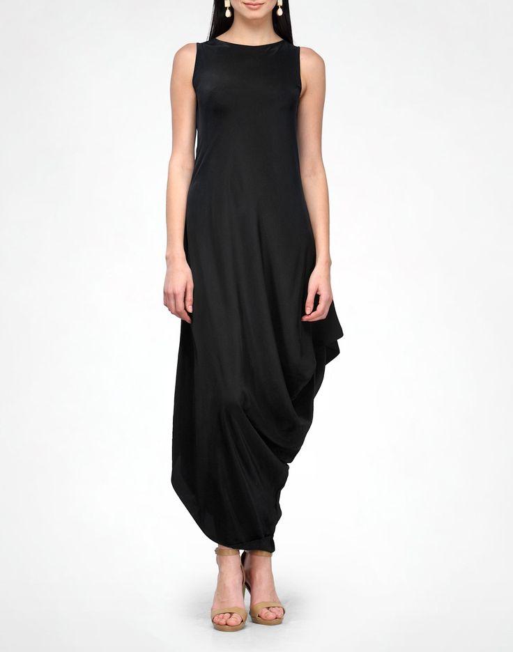 Black Side Drape Dress - Just In