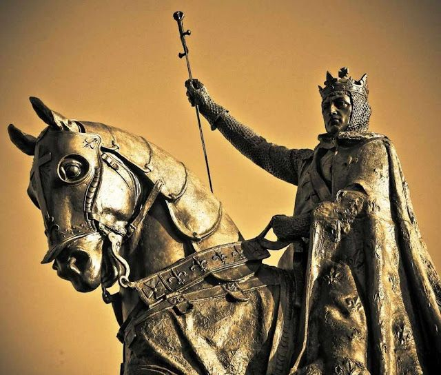 São Luis IX rei da França, estátua equestre, EUA.
