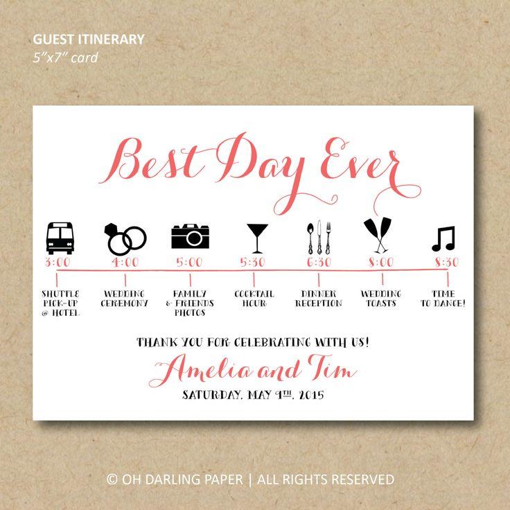 Afdrukbare bruiloft dag route gastenkaart door OhDarlingPaper