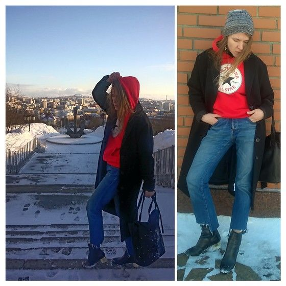 """Get this look: http://lb.nu/look/8665165  More looks by Alla Dolzhenko: http://lb.nu/alladcollaboration  Items in this look:  Fom Barcelona With Love Red Hoodie With , H&M Grey Hat, Mint&Berry Black Coat, Jack&Jones Cutting By Me Jeans, Topshop Boots With Gold Heels, Bag With Print """" Lady And Snow""""   #grunge #street #sweatshirt #red #heels #bag #jeans #coat"""