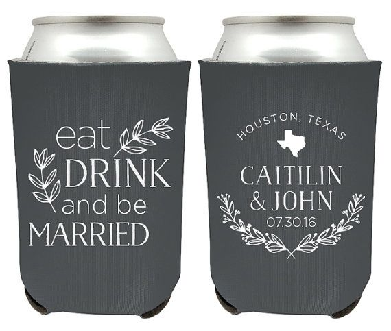Eat Drink and Be Married Rustic Wedding Koozies #EatDrinkandBeMarried #WeddingKoozies #RusticWeddingKoozies