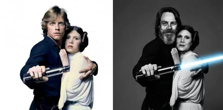 Carrie Fisher and Mark Hamill. Now and then