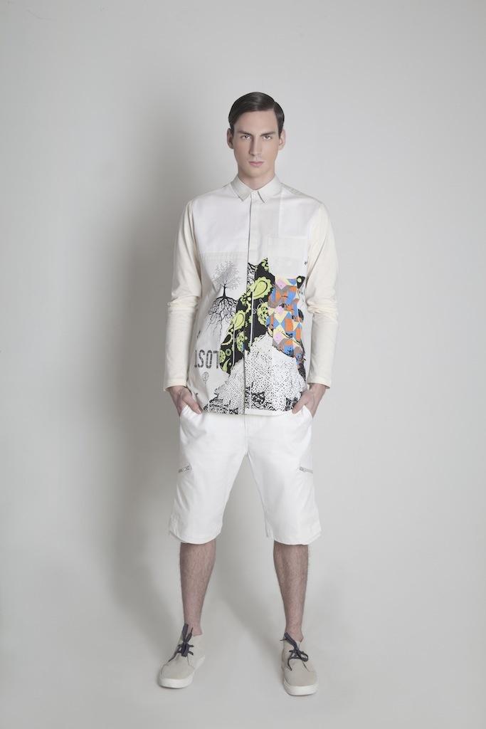 Menswear. Printed Shirt | Pocket Short Pants | Sand Suede Sneakers