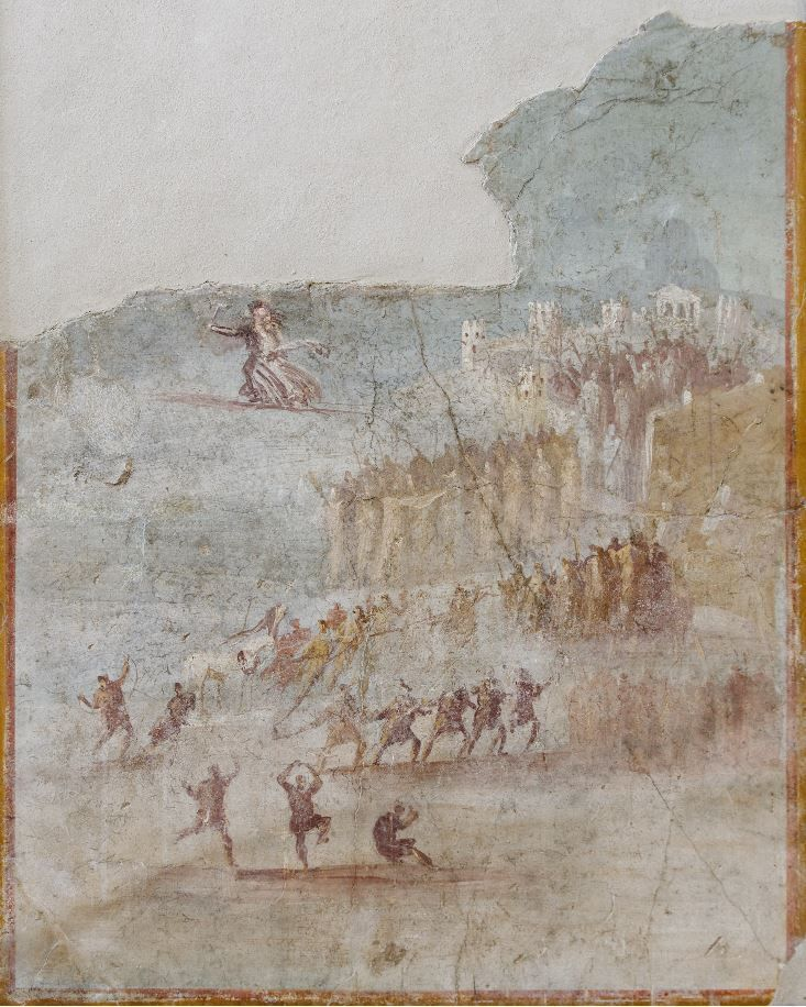 Sack of Troy, Iliad, fresco from House IX, Pompeii, 1-37 A.D.  Happy Trojans celebrating the arrive of Trojan Horse and bring it inside the wall of city, 103 cm x 80 cm. Museo Archeologico Nazionale, Naples