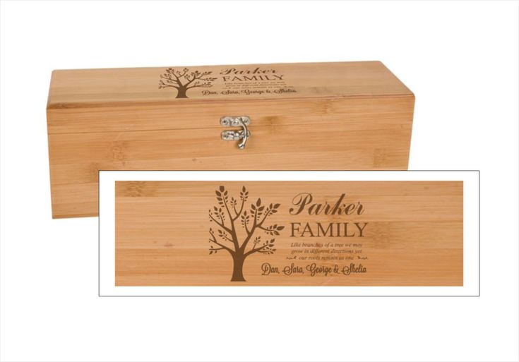 Family Tree Bamboo Wine Box With Tools by lazerdesigns on Etsy