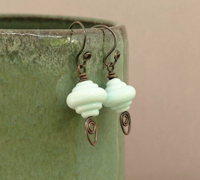 Mint green glass bead and copper earrings £15.00