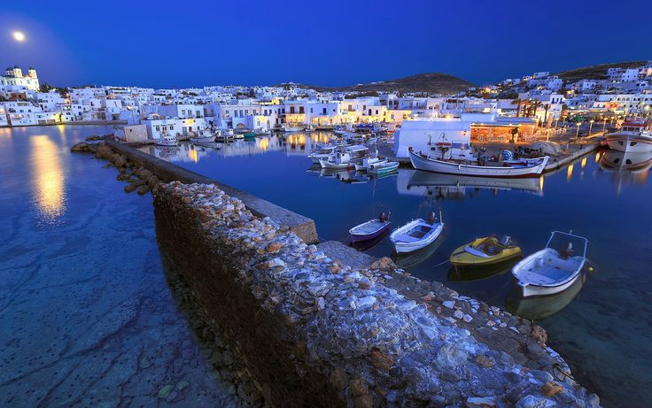 Naousa Paros island at a full moon rise