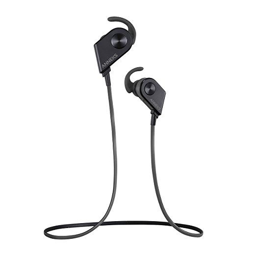 Wireless Earbud, Anneks M1 Wireless Headphones, Noise Cancelling Bluetooth Headphones with Built-in Microphone - Sweatproof Sports, Gym, Workout & Running Earbuds - For iPhone 7 Plus, Samsung, HTC, Motorola and Most Android Smartphones (Black)