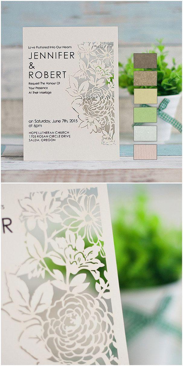elegant blossom laser cut wedding invitations