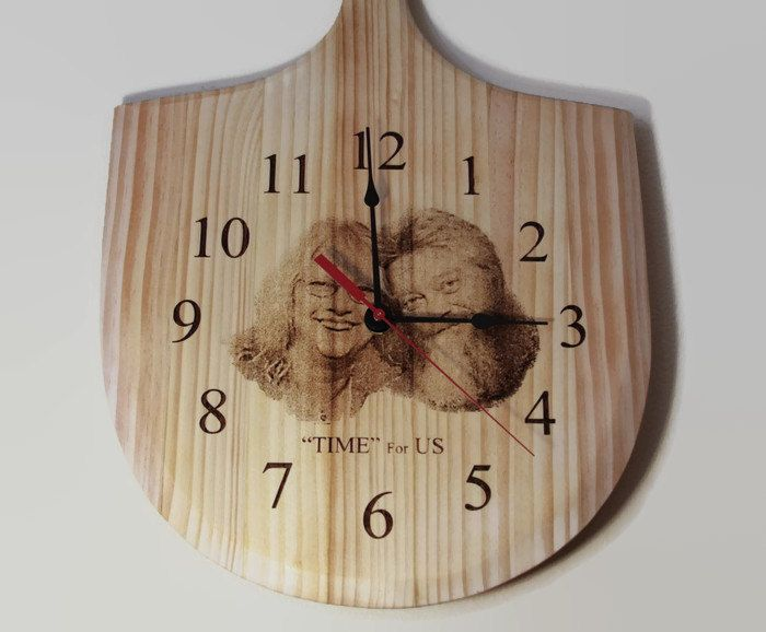 Wedding Gift Clock: Laser Engraved Photo, Pizza Peel, Personalized Family