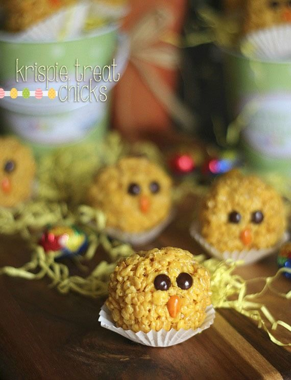 Krispie Treat Chicks.  Simple Easter treats that can be made quickly with the kids help!