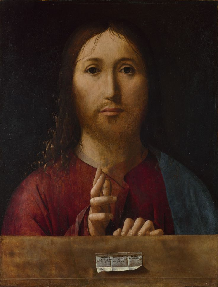 Christ Blessing / Cristo bendiciendo // apparently dated 1465 // Antonello da Messina // The National Gallery, London // #Jesus