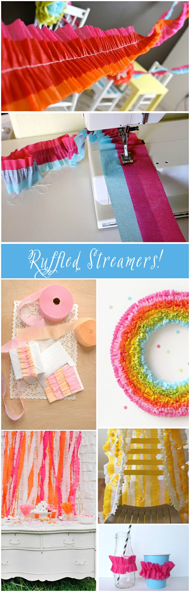 Party ● Tutorial ● DIY ● Ruffled Crepe Paper Streamers
