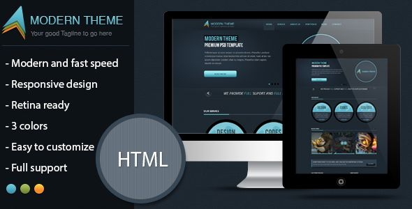 Modern Theme: Responsive HTML5 Template $ PSD - Corporate Site Templates