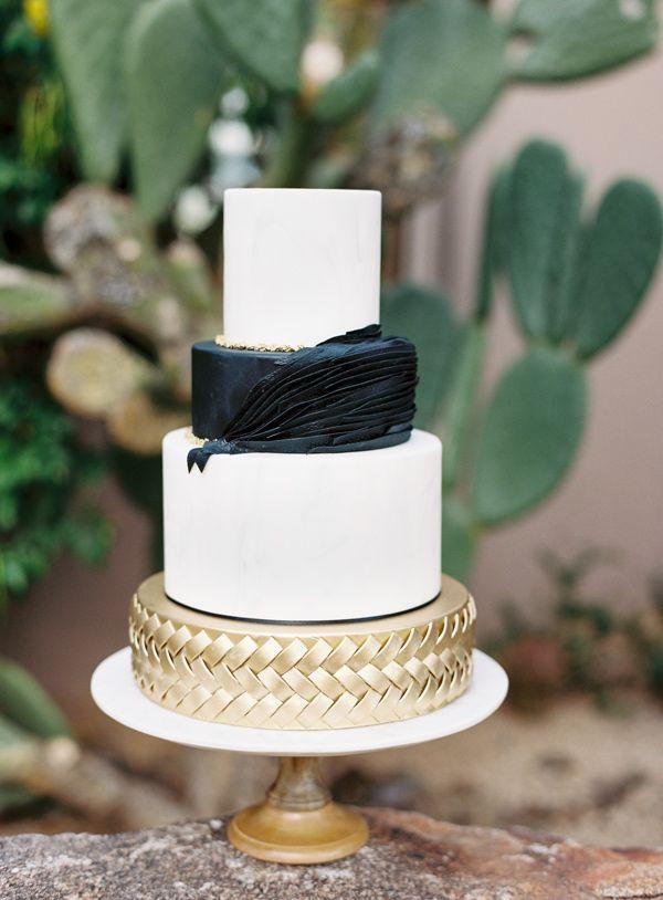 black and white wedding cake - photo by Brushfire Photography http://ruffledblog.com/masculine-edgy-wedding-inspiration