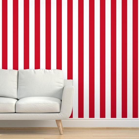 Circus Wallpaper Carnival 3 Inch Red Stripes By Risarocksit Etsy In 2021 Circus Wallpaper Drawer And Shelf Liners Nursery Deco
