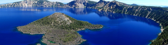 Stitched shot of Wizard Island in Crater Lake (view on large) by Alaskan Dude, via Flickr