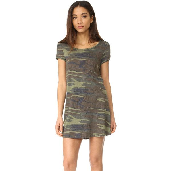 Z Supply The Connor Camo Dress ($32) ❤ liked on Polyvore featuring dresses, camo green, a line dress, olive green t shirt dress, camo t shirt dress, cotton jersey and camouflage dresses