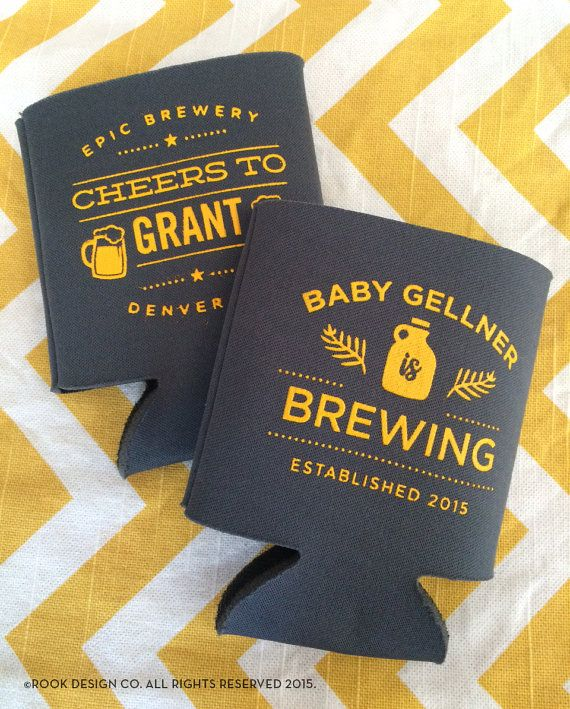 Baby is Brewing can coolers Baby Shower brewery by RookDesignCo